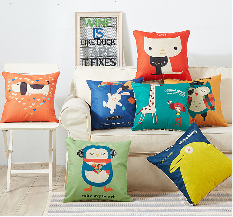 1PC Cartoon Pillow Sofa Cushion Office Pillow Car Waist Protective Cushion Linen Cotton Pillowcase With Core OU 035