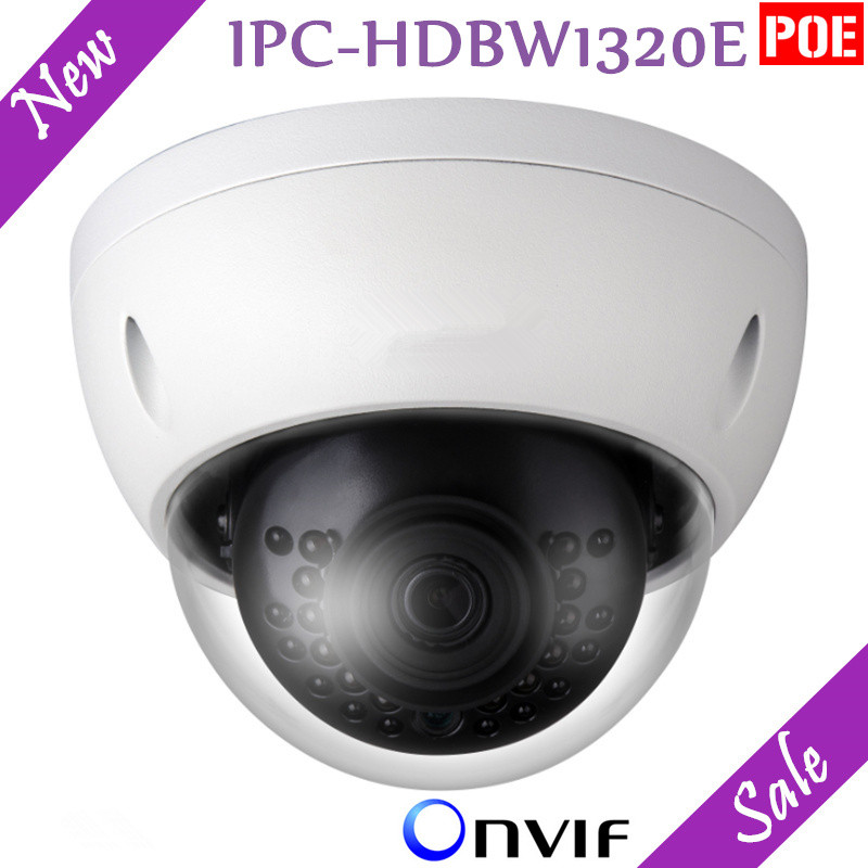 New English Version DH 3MP IP Camera HD Network IR Dome Mini Camera IPC-HDBW1320E IP67 Support POE and Onvif DH-IPC-HDBW1320E original dahua dh ipc ebw81200 12mp ultra hd metal waterproof shell ir network fisheye camera ip67 ipc ebw81200