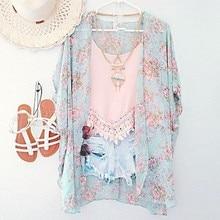 Nuevas Adquisiciones 2016 Mujeres Blusas Tallas grandes Floral Cardigan Mujeres Tops Batwing Blusa de Gasa Cardigan Kimono Chemise Femme XXXL