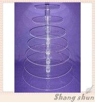 Бесплатная доставка 7 уровня круглый акриловый кекс стенд плексиглас хлебобулочных Дисплей стенд lucite булочно Дисплей