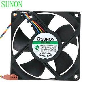 for SUNON Builds 8CM 8020 maglev Temperature Control Fan 12V 4.8W PMD1208PKV1-A 4 line