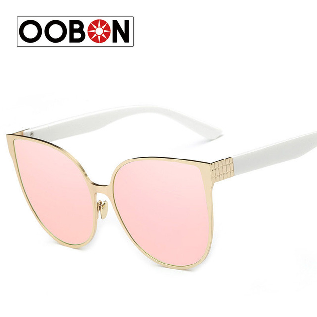 c6445544576 OOBON New Women s Sunglasses Metal Frame Reflective Coating Mirror Flat  Panel Lens Brand Designer Sun Glasses