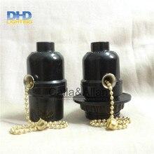 50 einheiten/set schwarz bakelit licht steckdosen mit kette schalter oder schlüsselschalter E27 lampe halter schwarz kunststoff beleuchtung steckdosen