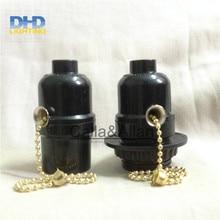 50 units/set zwart bakeliet licht sockets met ketting schakelaar of sleutelschakelaar E27 lamp houders zwart plastic verlichting sockets