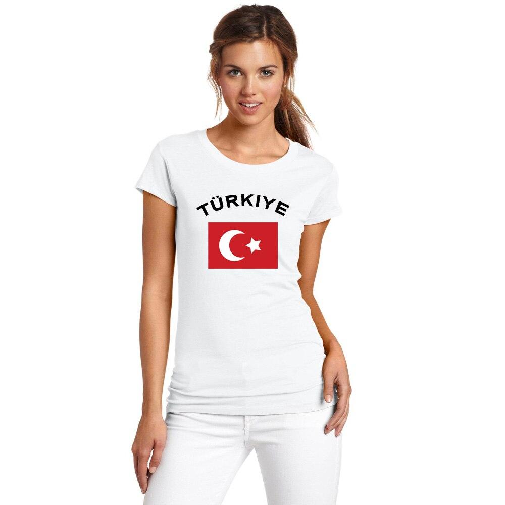 BLWHSA Turecko Dámské Fanoušci Fandit 100% Bavlněné Tričko Módní O-krk Bílá barva Národní Vlajka Letní Tričko Pro Ženy