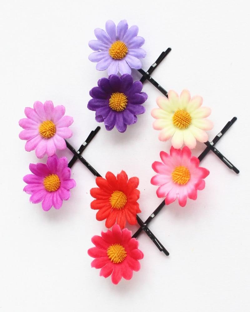 50 Wholesale Girls Flowers Hair Accessories Daisy Hair Clips Bridal