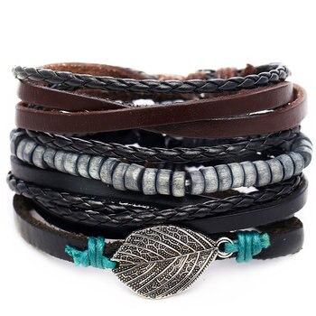 Vintage Multilayer Leather Bracelet for Men Bracelets Jewelry Men Jewelry New Arrivals Metal Color: FDY1184