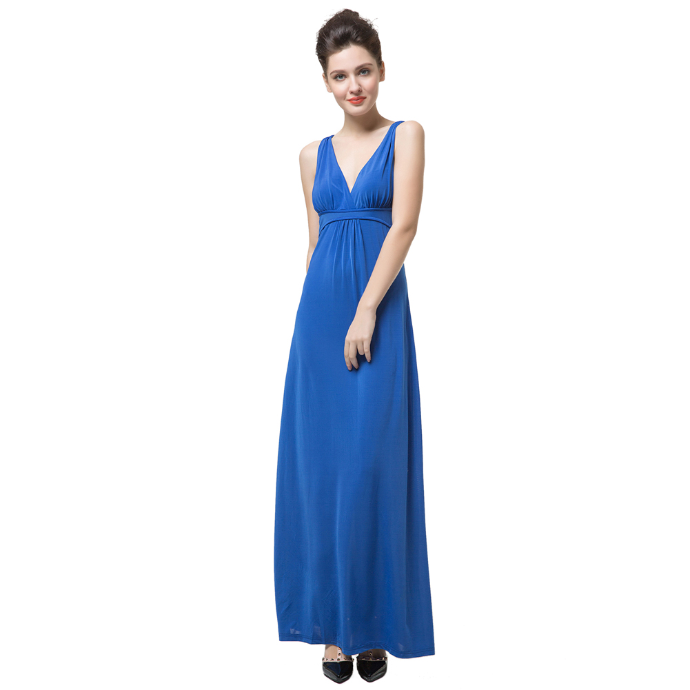 c07a9379ecf New Elegant Women Maxi Dress Solid Color V Neck Sleeveless Long Dress Open  Back Sexy Party Dress Vestidos Blue-in Dresses from Women s Clothing on ...