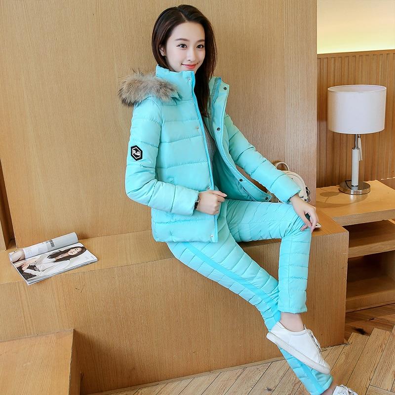 pink Coton Courte Taille 2019 dark Plume Mince Costume Hiver Grande Marée Vêtements Automne Nouveau Aqua black Deux pièce Femelle Loisirs Blue Blue nOOqX01
