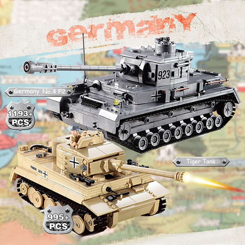 82010 1193pcs 82009 82011Century Military Tank Building Blocks Compatible With leego DIY PZKPFW-II Panzer Tank Toy kid gift new military series world war ii germany panzer iv tank building brick block toys compatible with lepin