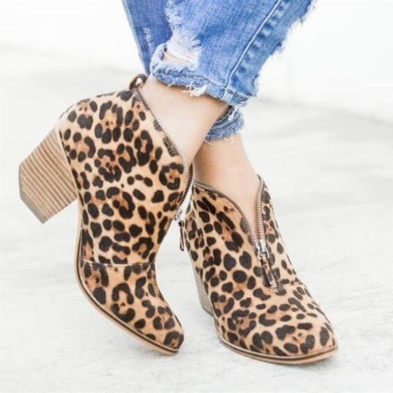 Autumn winter ankle boots for women high heels shoes ladies fashion sexy leopard zipper pointed toe short boots plus size roni bouker women zipper boots autumn winter snake ankle booties high heels fashion pointed toe ladies sexy shoes 2018 big size