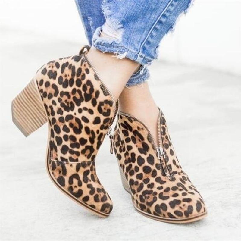 Autumn winter ankle boots for women high heels shoes ladies fashion sexy leopard zipper pointed toe short boots plus size spring autumn winter platform high heels ankle boots women short boots ladies shoes botas botte femme plus size 34 40 41 42 43
