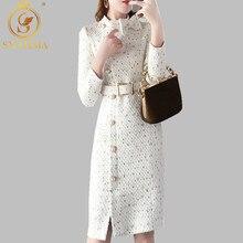 Женское твидовое платье, элегантное эффектное белое платье с длинным рукавом, бантом на воротнике, осень-зима