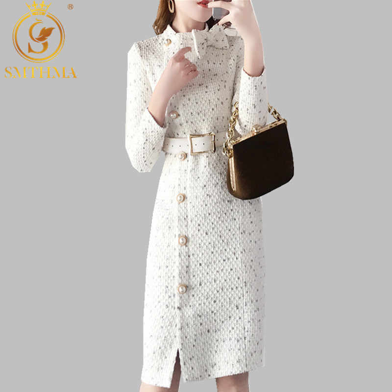 2019 New arrival Autumn and winter Runway women elegant tweed dress Bow collar Long sleeve female fashion chic dresses vestidos