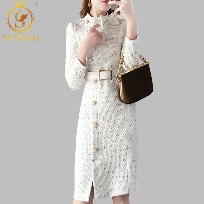 2020 새로운 도착 가을과 겨울 활주로 여성 우아한 트위드 드레스 보우 칼라 긴 소매 여성 패션 칙 드레스 vestidos