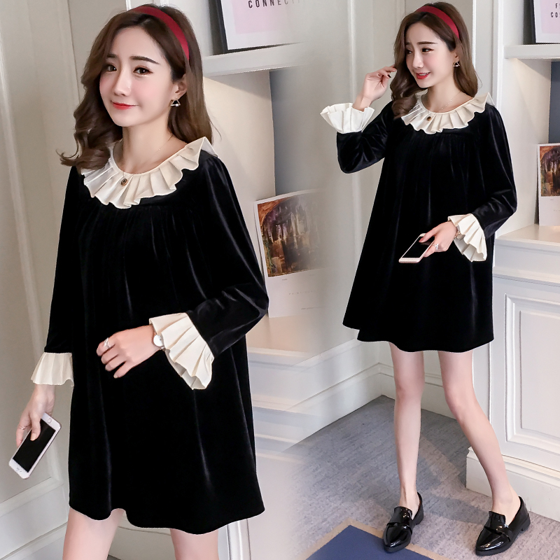 2018 Korean fashion spring new retro sweet big bow A word pregnant women loose velvet dress