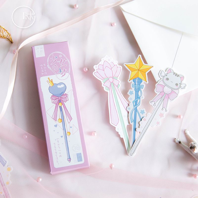 30pcs/pack Girl's Magic Wand Paper Bookmarks Cartoon Animals Book Holder Message Card Stationery Office School Supplie Kids Gift