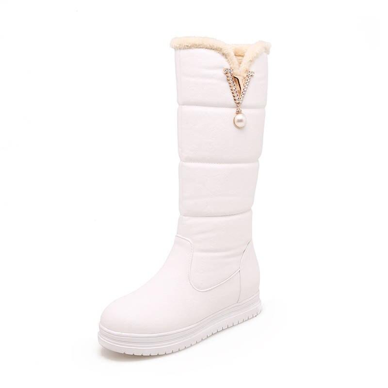 Memunia Invierno De rojo Nieve Mujer blanco Rodilla Botas Caliente Negro Calidad Superior Ronda En Mantener Casual 2018 Toe Slip Zapatos Moda 4wq4rf