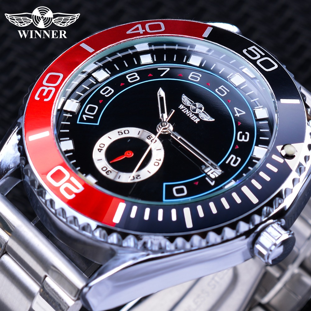 Winner Black Red Clock Gear Bezel Design Sub Dial Steampunk Luminous Mens Automatic Mechanical Watches Silver Stainless Steel Winner Black Red Clock Gear Bezel Design Sub Dial Steampunk Luminous Mens Automatic Mechanical Watches Silver Stainless Steel