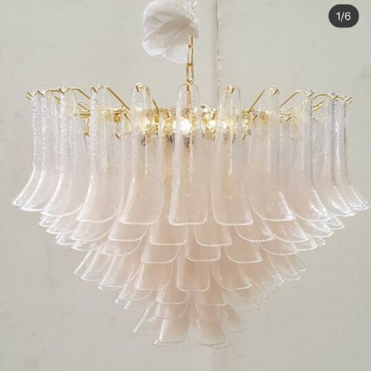 European Luxury Hand Blown Glass Petal Chandelier LED Chandelier Light