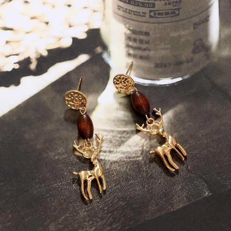 Phụ Kiện thời trang Vintage Khảm Bằng Gỗ Bead Earring Phụ Nữ Cá Nhân Hươu Dangle Earrings