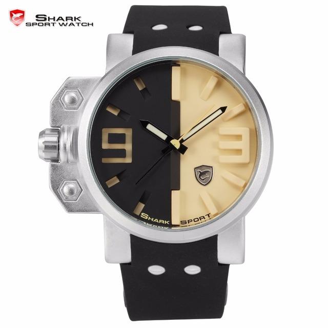 Salmão shark sport watch caixa em aço inoxidável preto amarelo 3d analógico luminous mãos de borracha ao ar livre dos homens relógio de pulso de quartzo/sh170