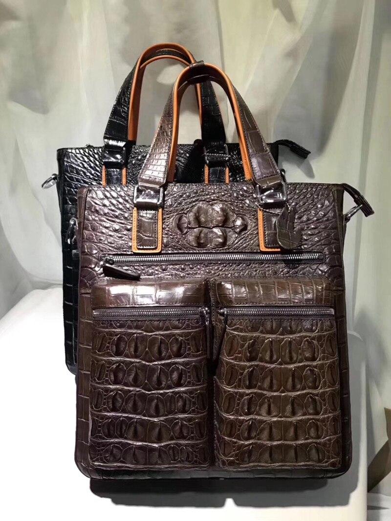 Handtasche Schwarzes griff Casual Alligator Leder Schulter Top Taschen Tasche Mann Quer Große Klappe Style Krokodil Männer Echtes Haut Einzigen zqzgS