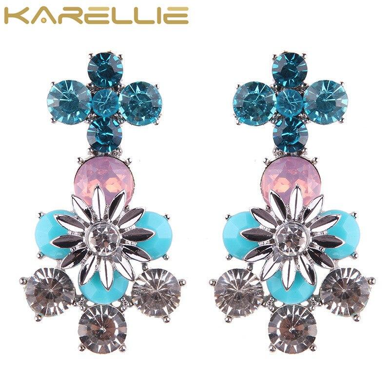 Karellie Роскошные уха манжеты серьги блестящий цветок Серьги для Для женщин Подарки на день рождения Модные украшения Pendientes