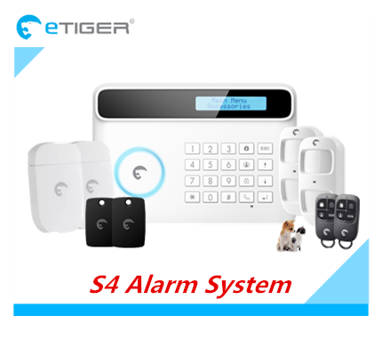 RFID Alarm Wireless GSM Alarm System Smart S4 Etiger Home Security Alarm System with Pet Friendly PIR And Solar Siren fuers wifi gsm sms home alarm system security alarm new wireless pet friendly pir motion detector waterproof strobe siren