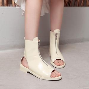 Image 5 - MORAZORA 2020 הגעה חדשה קרסול מגפי נשים פטנט עור קיץ מגפי zip בוהן ציוץ גלדיאטור פאנק נעלי אישה מגפיים