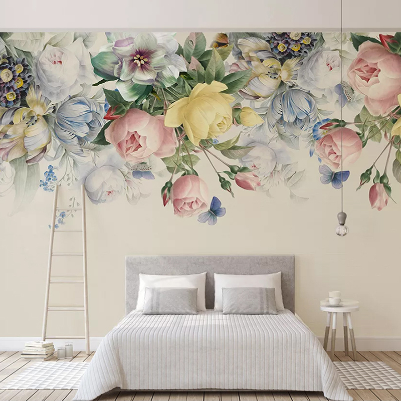 Custom 3D Photo Wallpaper Hand Painted Retro Flowers Pastoral Self Adhesive Mural Living Room Sofa TV Background Wall Painting