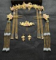Neue braut kopfschmuck kostüm kamm haarnadeln ohrringe anzug Chinesischen hochzeit tiara haar drachen Krone hochzeit haarschmuck