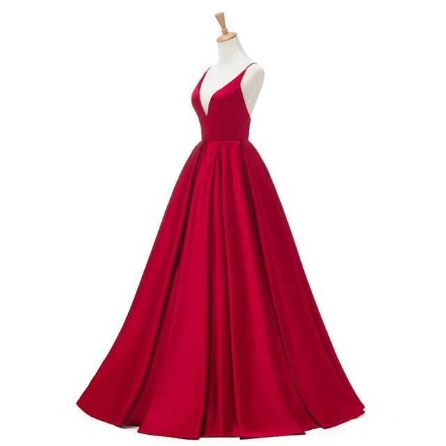 2019 Red Sexy Satin Evening Dresses Long A-line Prom Dresses V-neck Evening Party Dresses Prom Dress Open Back Robe De Soiree 3