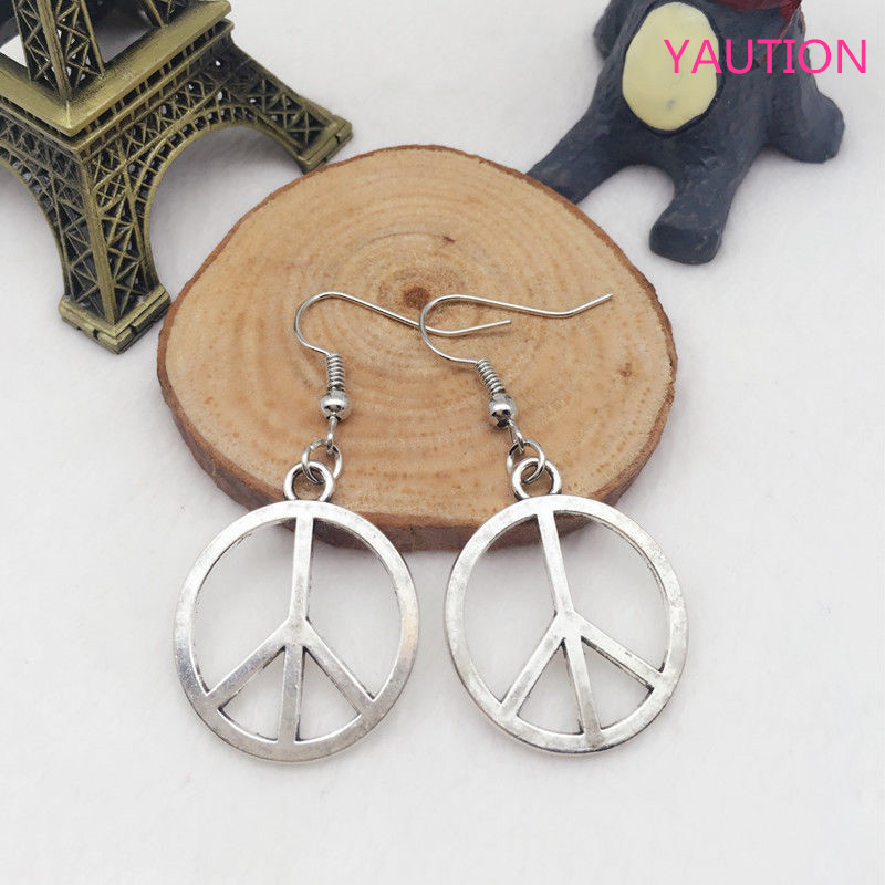 New 1 Pair  Fashion Antique Silver Jewelry Peace Sign Earring