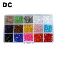 DC 1710pcs Box Top AAA Quality 15 Mixed Colors 4mm Faceted Austrian Crystal Bicones Beads Loose