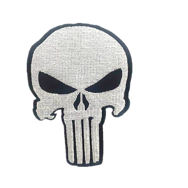 100pcs lot movie white skull the punisher logo clothing patches embroidered iron on patch stickers badge applique diy sewing