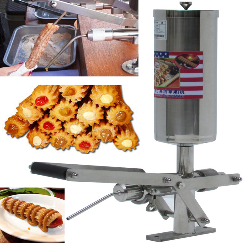 Manual Commercial Stainless Steel Spanish Churros Filler Machine 5L Churros Maker Filling Machine Churro Jam Filling Machine free shipping commercial heavy duty 5l manual spanish donuts churreras churros maker machine w 12l fryer n 700ml filler