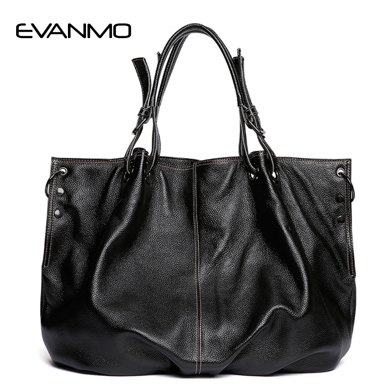 Natural Women Genuine Leather Handbag Europe Style Female Large Totes High Quality Ladies Top-handle Bags Fashion Large Bag phedera europe style women tote bags high quality genuine leather female handbag simple fashion real leather brown women handbag