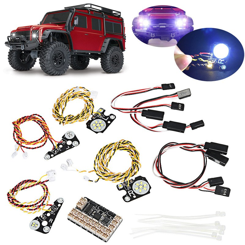 17PCS LED Front Rear lights + IC Lamp Group Headlight Kit For TRAXXAS Trx4 RC Car Parts DIY Replacement Repair Accessories headlamp polishing paste kit diy headlight restoration for car head lamp lense deep clean compuesto pulidor uv protective liquid