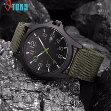 OTOKY Willby Men's Weaved Fabric Band Calendar  Waterproof Military Quartz Wrist Watch 161228 Drop Shipping