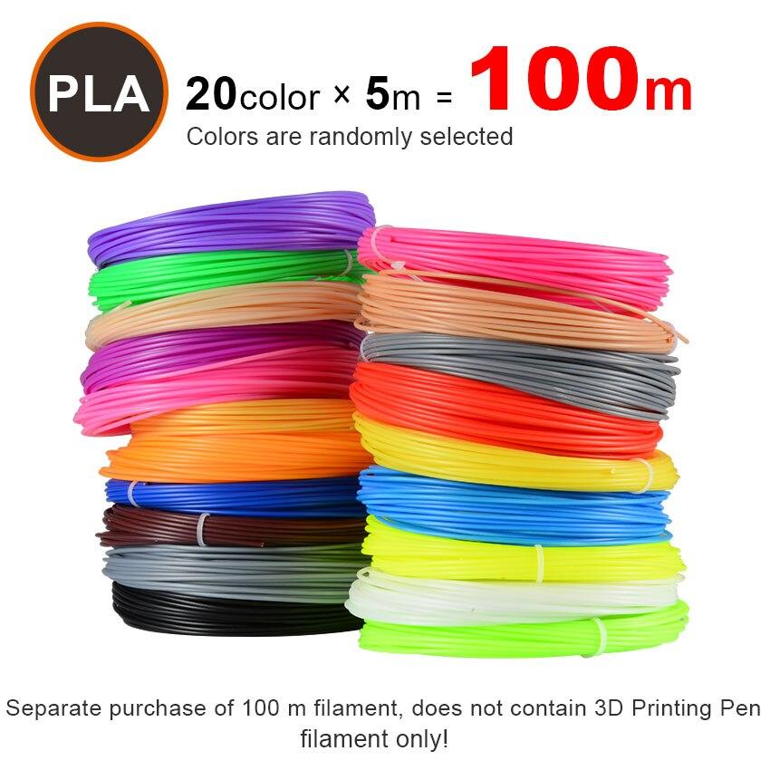 Neue Freies Verschiffen 20 teile/los 3D Drucker Filament 5 mt/teile 20 Farben 1,75mm PLA 3D Print Filament Für 3D drucker Oder 3D Stift