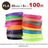 Nouveau Livraison Gratuite 20 Pièces/lot 3D Imprimante ABS Filament 10 M/pcs 20 Couleurs 1.75mm PLA 3D Impression Filament Pour 3D Imprimante Ou 3D Stylo