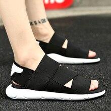 UNN Summer Mens Sandals Fashion Beach Flat Black Slippers Soft Stretch Fabric Outdoor Men Shoes