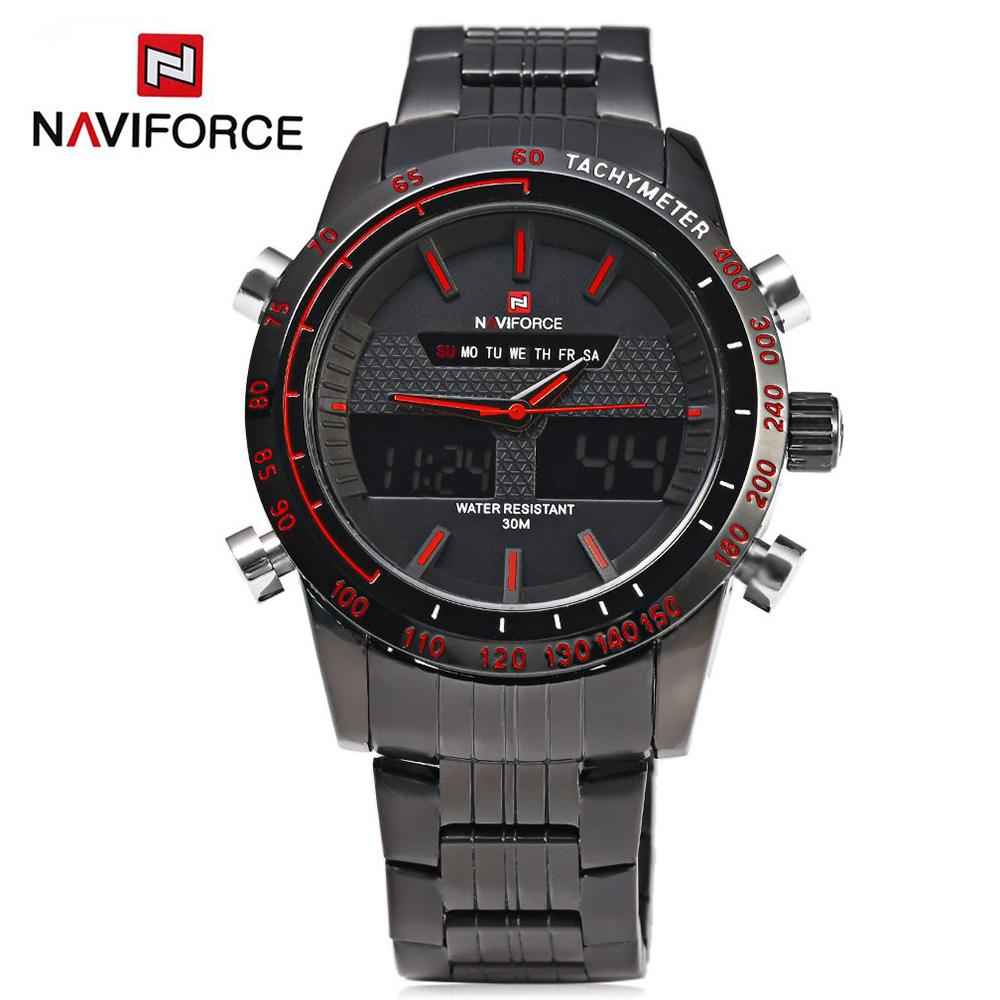 NAVIFORCE 9024 Men Watches Luxury Brand Full Steel Quartz Clock Digital LED Army Military Sport Business Watch relogio masculino watches men naviforce luxury brand full steel quartz wristwatches digital led watch army military sport watch relogio masculino