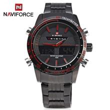 Naviforce 9024 Для мужчин Часы Элитный бренд полный Сталь кварцевые часы цифровой светодиодный армии Военная Униформа спортивный Бизнес часы Relogio Masculino
