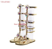 New brand crystal buckle strap sandals boots bling bling diamonds clear women knee high sandal boots transparent high heels shoe(China)
