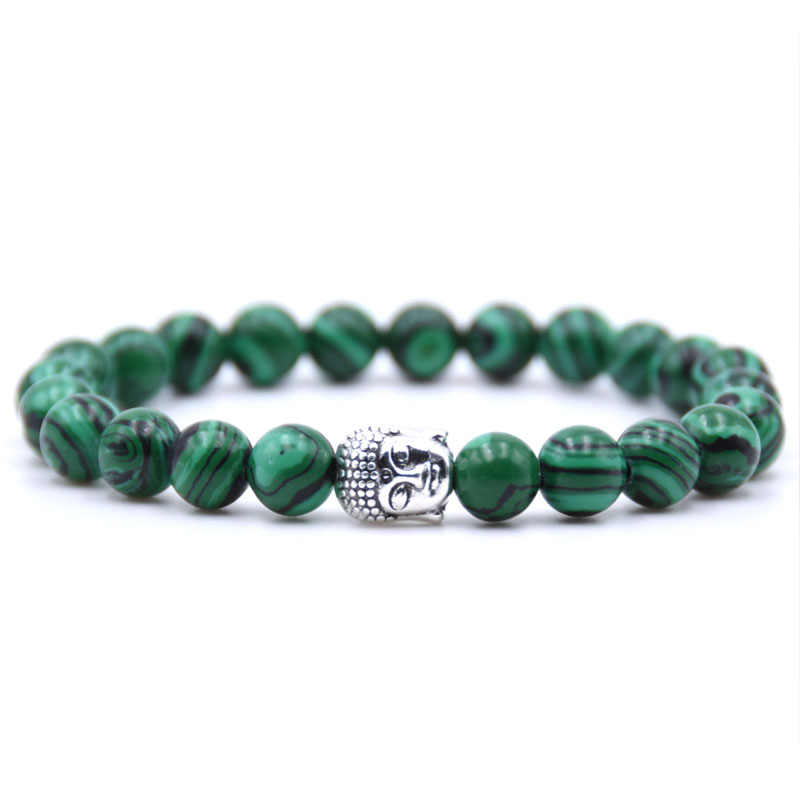 Natural Stone 8mm bead Buddha Bracelets For Women and Men Black Lava bracelet Men jewelry pulseras mujer
