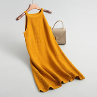 Fall 2018 Women solid color round neck sleeveless dress casual knit dress