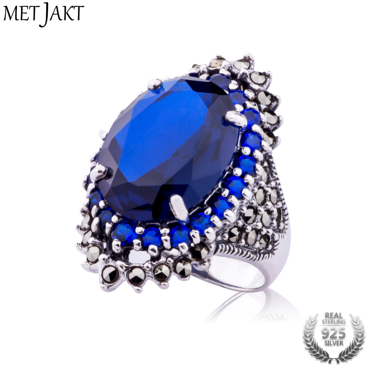 MetJakt Vintage Ethnic Sapphire Ring with Zircon Solid 925 Sterling Silver Ring for Women's Wedding Engagement Jewelry