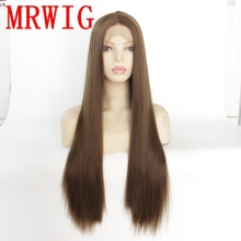 MRWIG brown hair color 8# long straight synthetic front lace wig for woman 26in mid part natural